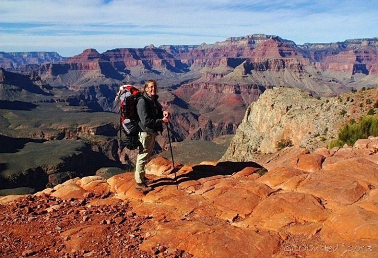 Gaelyn backpacking on South Kaibab trail Grand Canyon National Park