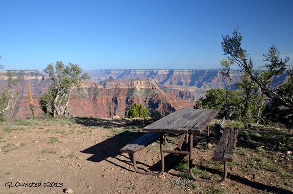 Picnic table at Point Sublime North Rim Grand Canyon National Park Arizona