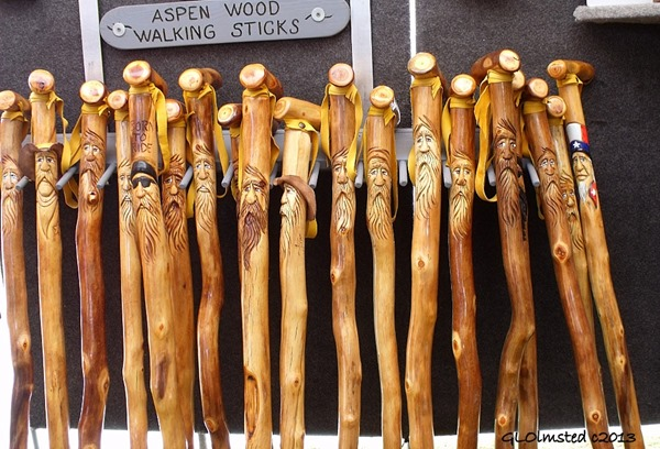 Carved walking sticks for sale at Gold Rush Days Wickenburg Arizona 2012