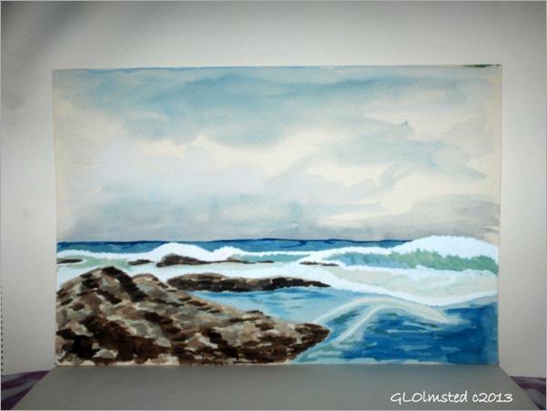 Watercolor of ocean