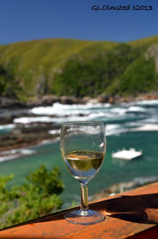 Wine glass with reflection at Storms River Mouth Tsitsikamma National Park South Africa