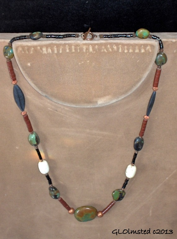 Necklace 29inch Turqoise, Coral, Jet, Pipestone & SS $75