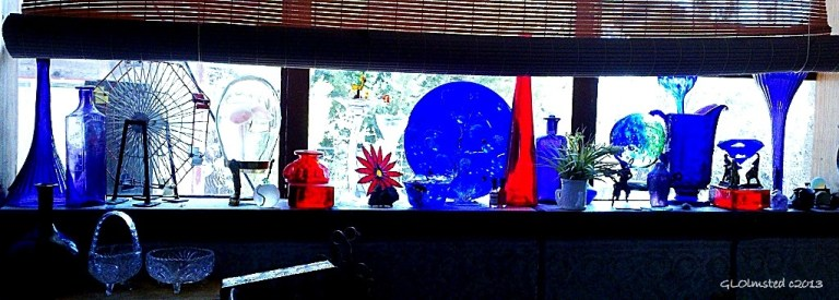 Blue, red & purple glass over sink Berta's house Yarnell Arizona