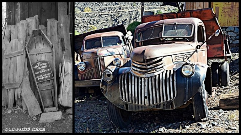 Caskets & rusty trucks at Gold King Mine Ghost Town Jerome Arizona