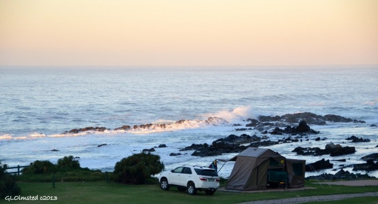 Campsite on the shore at Storms River Mouth Tsitsikamma National Park South Africa