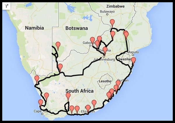Possible South Africa route on map