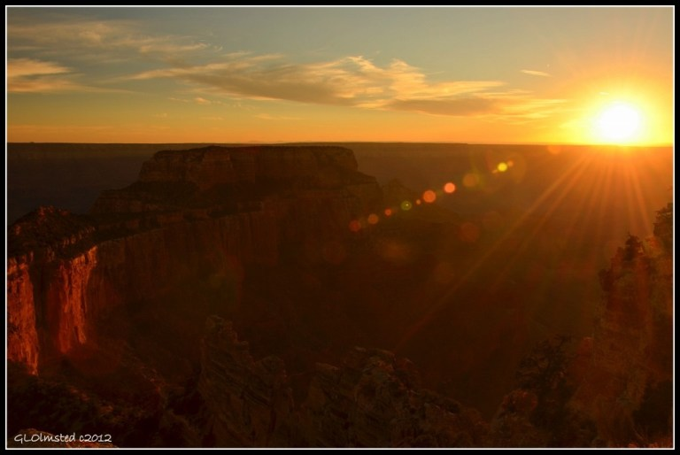 Woton's Throne & sunset from Cape Royal North Rim Grand Canyon National Park Arizona