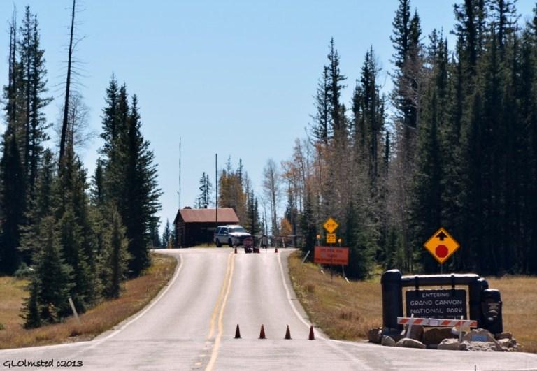 Day 4 Gov shutdown closed entrance station North Rim Grand Canyon National Park Arizona