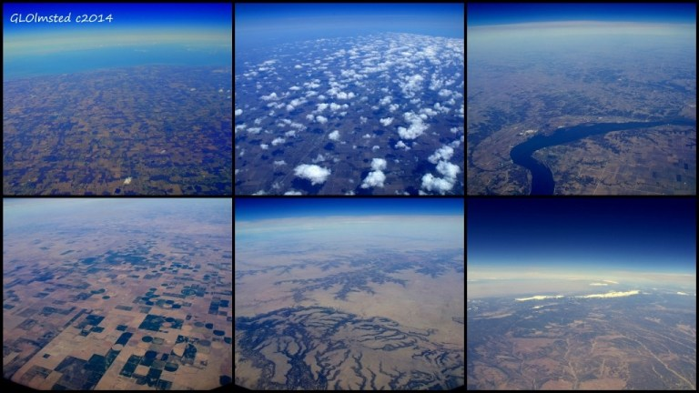 Aerial views over US east to west