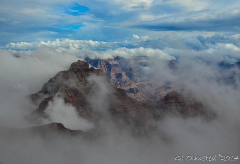 Vishnu Temple in fog from Cape Royal North Rim Grand Canyon National Park Arizona