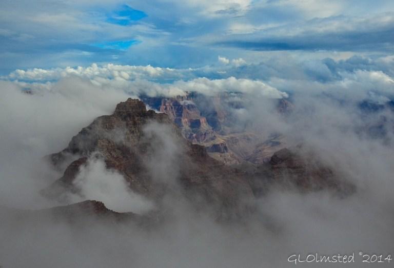 Vishnu Temple in fog from Cape Royal North Rim Grand Canyon National Park Arizona