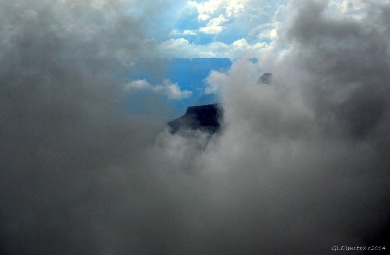 Temple thru clouds Cape Royal Walhalla Plateau North Rim Grand Canyon National Park Arizona
