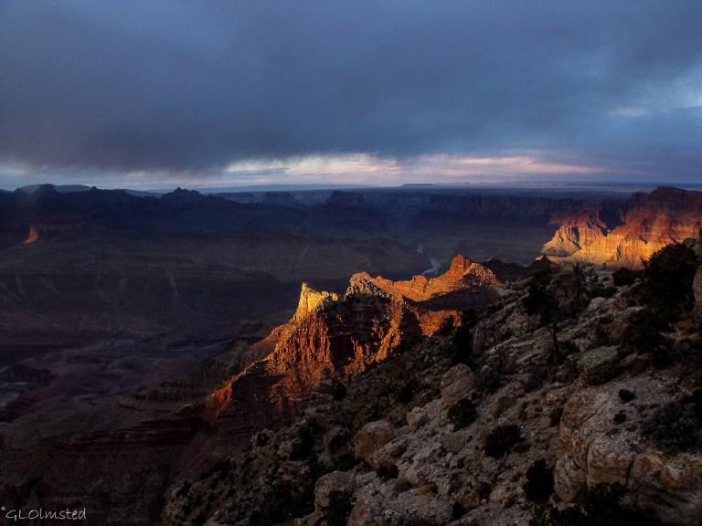 Last light & view NE from Lippan Point South Rim Grand Canyon National Park Arizona