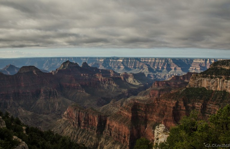 Low clouds above morning light in canyon from Lodge North Rim Grand Canyon National Park Arizona