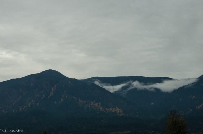Low clouds & fall colors Columbia River Gorge SR14 Washington