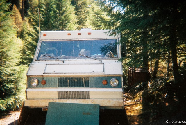 Motorhome at Caves Creek campground Siskyou National Forest Oregon