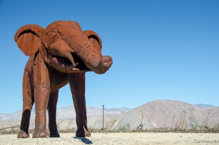 Gomphothere metal sculpture by Ricardo Breceda Galleta Meadows Borrego Springs California