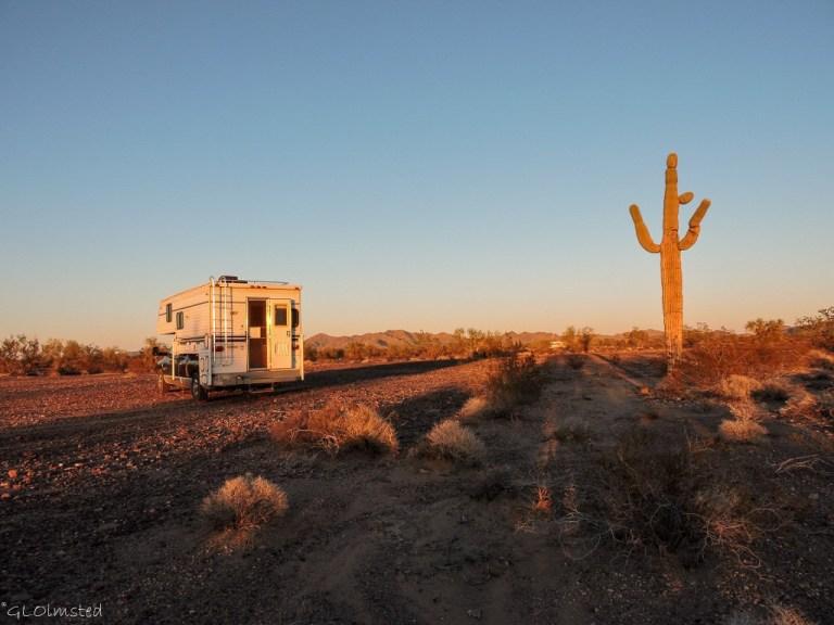 Truck camper Plomosa Road BLM Quartzsite Arizona