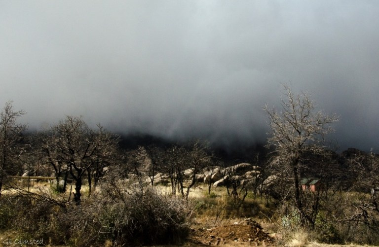 Low clouds over Weaver Mts Yarnell Arizona