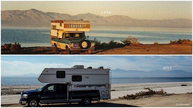 Truck campers at Salton Sea California 1996 & 2015