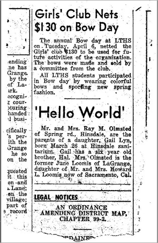 Gail Lyn Olmsted March 26 1954 birth announcement Illinois