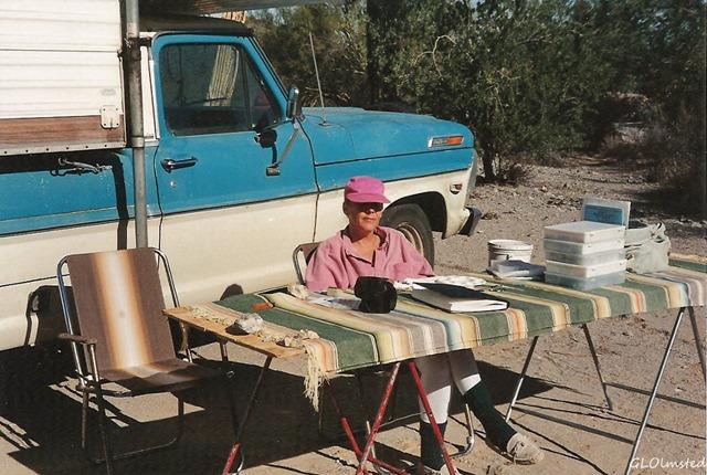 Gaelyn beading at Freeman Road BLM east of Gila Bend Arizona Jan 1997