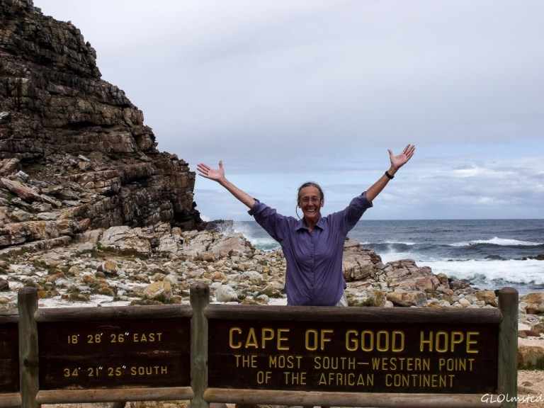 Gaelyn at Cape of Good Hope sign M65 S Table Mt NP Cape Pennisula South Africa