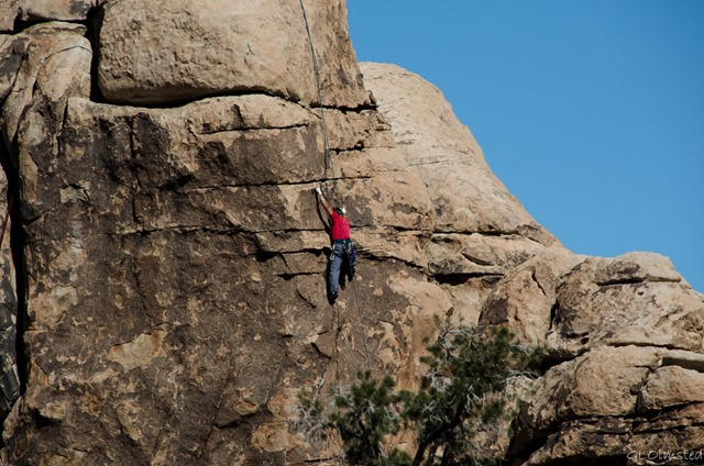 Rock climber Hidden Valley Joshua Tree National Park California