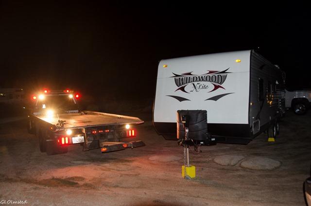 Tow truck & stuck trailer White Tank campground Joshua Tree National Park California