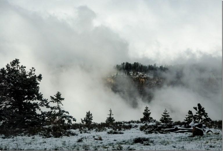 Snow & cloudy morning from RV North Rim Grand Canyon National Park Arizona