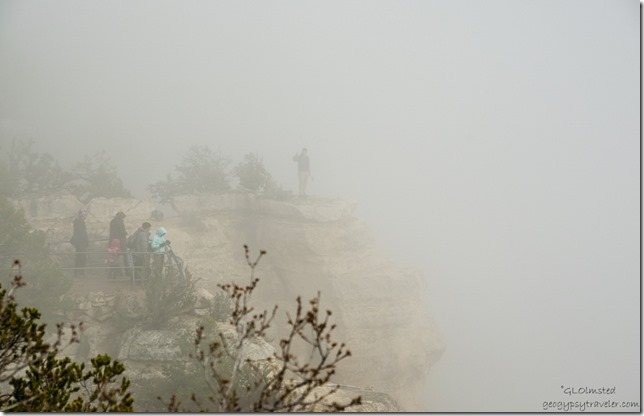 Visitors in the fog North Rim Grand Canyon National Park Arizona