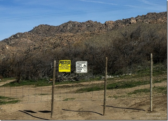 Funny private property sign from Date Creek-County Road 62 Arizona