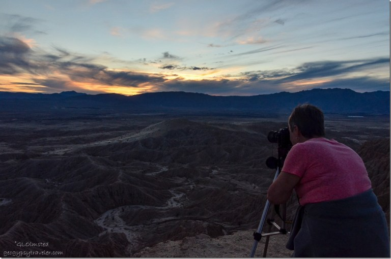 Lynda at Sunset over Badlands & San Ysidro Mts from Fonts Pt Anza-Borrego Desert State Park California