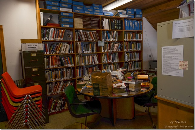 Stacks of books in community library North Rim Grand Canyon National Park Arizona