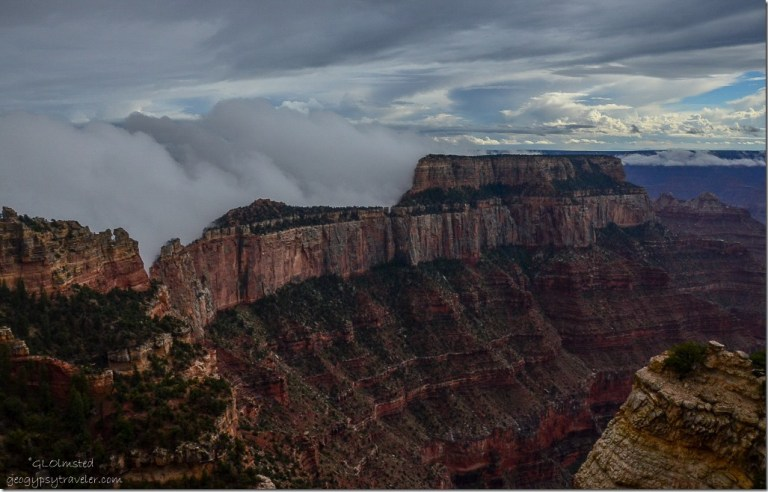 Fog backed Wotans Throne from Wedding Site North Rim Grand Canyon National Park Arizona