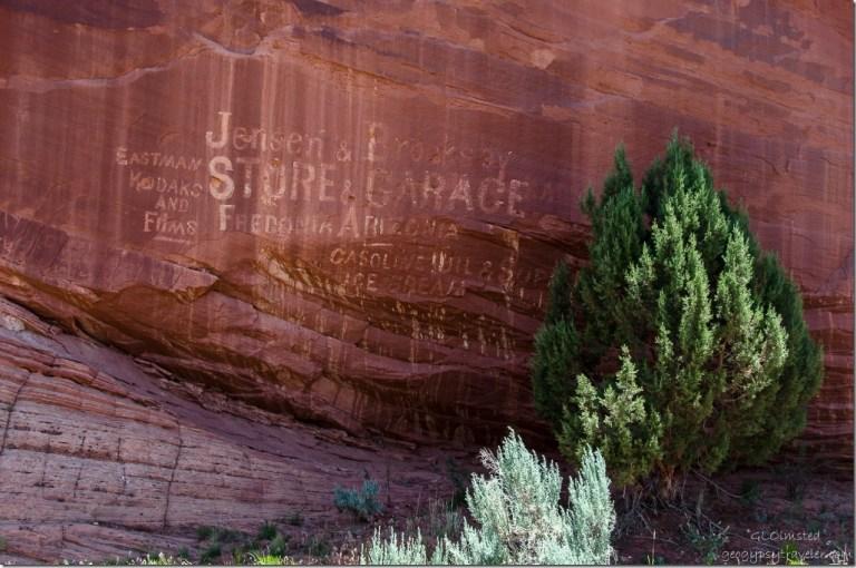 Historic petroglyph advertising Kanab Utah