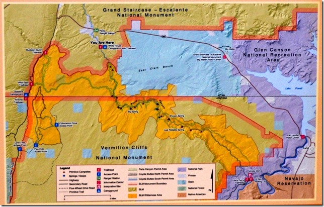 BLM map White House Paria Buckskin to Lee's Ferry Grand Staircase-Escalante National Monument Utah