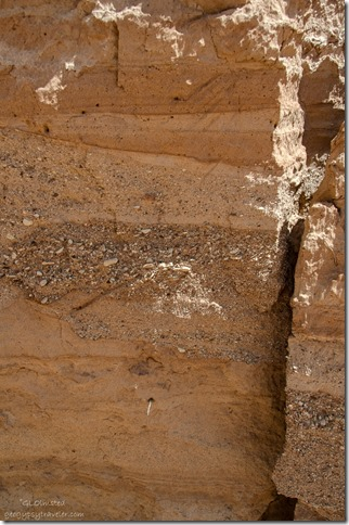 Deposit layers in wash in side canyon White House Road Grand Staircase-Escalante National Monument Utah
