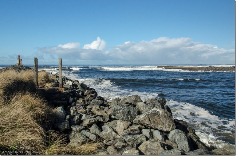 Coquille River mouth from South jetty Bandon Oregon