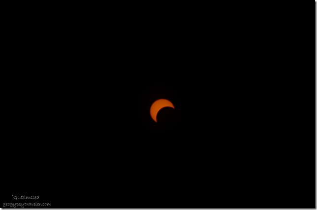 Entering partial eclipse for annular North Rim Grand Canyon National Park Arizona