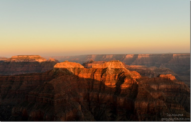 Last light view SE from Pt Sublime North Rim Grand Canyon National Park Arizona