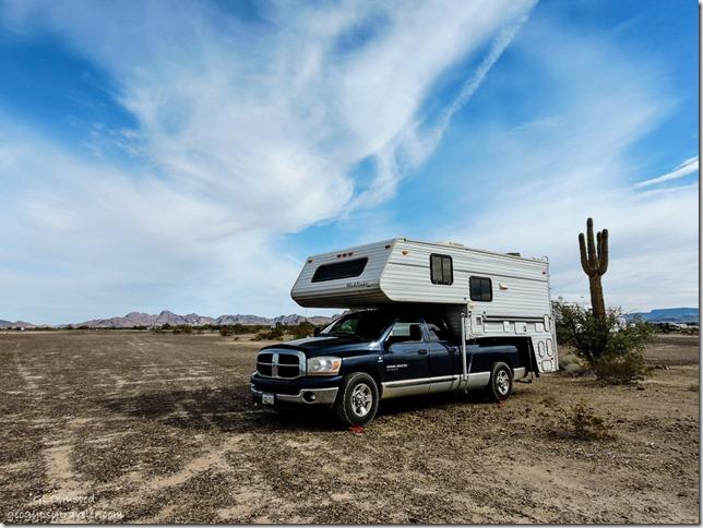Truck camper Plomosa Road BLM Arizona