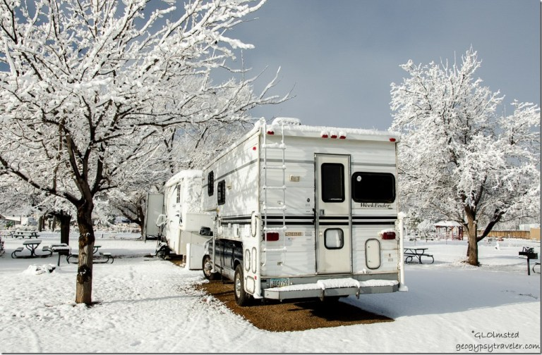 Both RVs with snow Crazy Horse RV Park Kanab Utah