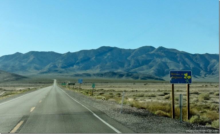 Welcome sign Hwy 178 Nopah Range California