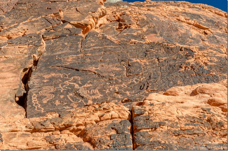 Petroglyphs in side canyon by Atlatl Rock Valley of Fire State Park Nevada