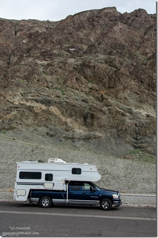 Truck camper below sea level sign Badwater Basin Death Valley National Park California
