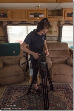Jordan setting up tripod in RV Kanab Utah