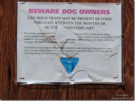 Leg trap warning sign Bunting Trail Kanab Utah
