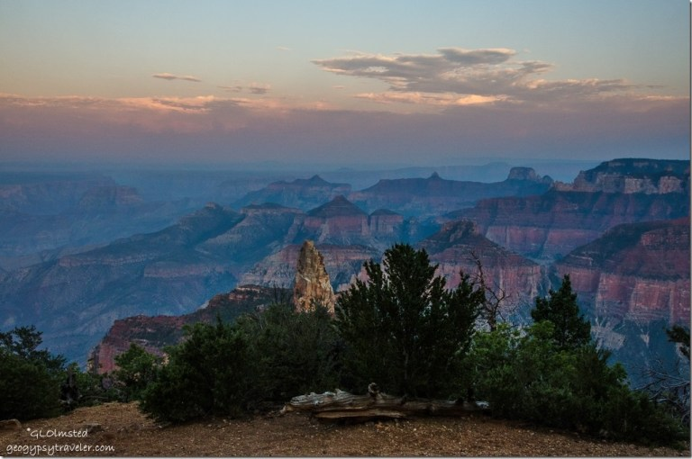 Sunset hazy canyon view SE Point Imperial North Rim Grand Canyon National Park Arizona