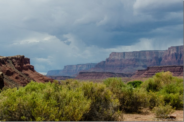 Stormy skies over Paria Plateau from Lees Ferry Glen Canyon National Recreation Area Arizona